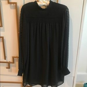 Zara Basic LS Black Dress with sheer arms VGUC